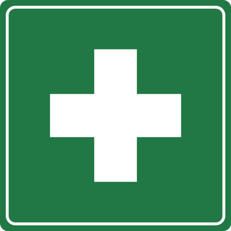 Croix blanche sur fond vert symbole des premiers secours